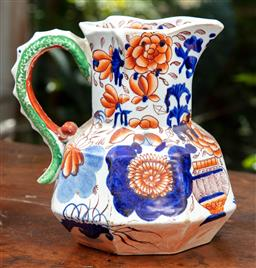 Sale 9120H - Lot 42 - A Masons Ironstone water jug with floral decorations and green handle, Height 19cm