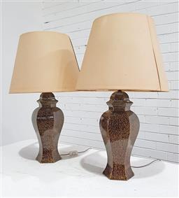 Sale 9137 - Lot 1005 - Pair of vintage ceramic glazed lamps in olive tone (h:80cm)