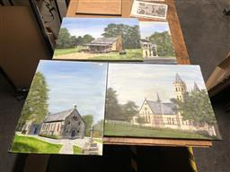 Sale 9152 - Lot 2060 - JOHN COLBERT - Churches and Cottages (x4 paintings) largest: 51 x 61 cm