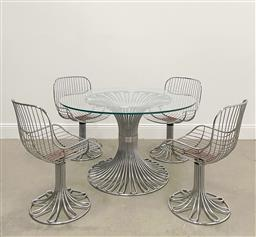 Sale 9252AD - Lot 5034 - GASTONE RINALDI 5-PIECE DINING SUITE, 1970s: tulip chrome wire base table with glass top, matching swivel based chairs (table, h. 73...