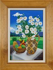 Sale 8411A - Lot 5070 - Johanna Hildebrandt (XX) - Still Life in a Landscape, 1996 44.5 x 29.5cm