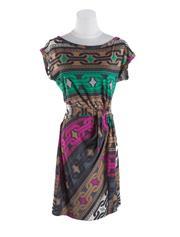Sale 8493A - Lot 65 - A straight neck 100% printed silk Dianne Von Furstenberg dress, US size 8