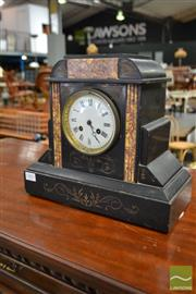 Sale 8500 - Lot 1003 - Late 19th Century French Black Slate & Marble Mantle Clock, with enamel dial, the movement signed Japy Freres (hour hand damaged)