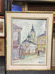 Sale 8750 - Lot 2046 - Artist Unknown - Street Scene mixed media on canvas,  59.5 x 44.5cm, signed Ralston lower right