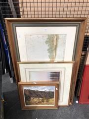 Sale 8819 - Lot 2121 - 3 Works: H.Tebbitt - River Scene, watercolour, SLL; Artist Unknown - Sunset, watercolour & BA Burgess - Euroka Clearing, acrylic on...