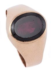 Sale 8954 - Lot 357 - A VINTAGE RUSSIAN GOLD GARNET SIGNET RING; set with a 10 x 8.5mm red oval garnet, size S, wt. 4.67g,