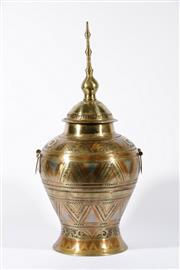 Sale 9003C - Lot 613 - Coloured brass lidded vase with geometric pattern (total height 72cm)