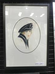 Sale 9072 - Lot 2016 - L E Hudson Lady in Blue (Portrait), 1922 watercolour and pencil, 35 x 25cm, signed