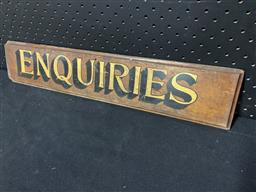 Sale 9117 - Lot 1006 - Early ENQUIRIES sign on oak backing (h:10 x w:51cm)