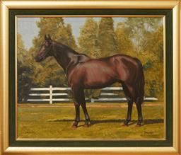 Sale 9098H - Lot 3 - Lance Ross - Drawn Chestnut Horse 50cm x 60cm