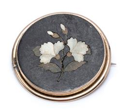 Sale 9213 - Lot 352 - AN ANTIQUE GOLD PIETRA DURA BROOCH; inlaid with hardstones featuring carnations in a plain gold surround, tests 7ct gold, size 37mm,...