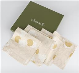 Sale 9255H - Lot 9 - A set 6 Christofle damask cotton napkins in gold and cream motif, 51cm x 51cm, made in Italy.