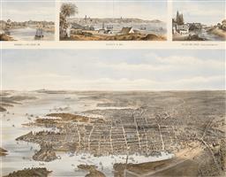 Sale 9252A - Lot 5072 - JOHN SANDS (1818 - 1873) Panoramas of Sydney, 1788 - 1886 engraving 38.5 x 48.5 cm (frame: 66 x 75 x 2 cm) published by John Sands &...