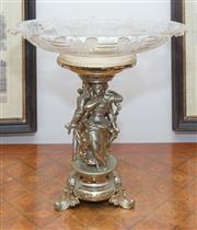 Sale 8341A - Lot 19 - A gilt metal centrepiece and associated cut glass bowl, H 39 x D 41cm