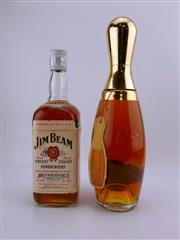 Sale 8532W - Lot 74 - 1x James B Beam 6YO Pin Bottle Kentucky Striaght Bourbon Whiskey - in novety decanter bottle; t/w 1x Jim Beam Kentucky Straight Bo...