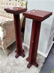 Sale 8580 - Lot 1001 - Pair of Timber Plinths (H: 72cm)