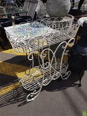Sale 8601 - Lot 1230 - Tiered Scrolled Metal Plant Stand