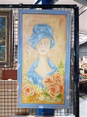 Sale 8686 - Lot 2082 - Trisha Meijboom - Lady and Roses, acrylic on canvas on board, 66 x 36cm (frame size), signed lower right