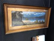 Sale 8789 - Lot 2068 - J Hutchings - Lake Mazapouri, NZ, oil painting, 26.5 x 74cm, signed lower left