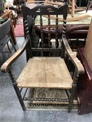 Sale 8822 - Lot 1522 - Oak Hall Chair with Woven Seat