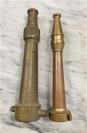 Sale 8951P - Lot 324 - Pair of Vintage Brass Fire Hose Nozzels (largest-26.5cm)