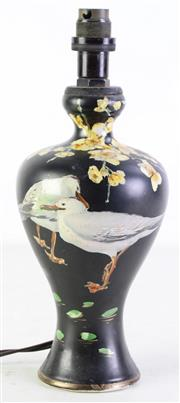 Sale 8963 - Lot 86 - An English Painted converted Lamp Vase Featuring Seagulls Marked To Base Leeds H: 30cm, small chip to base