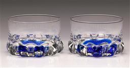 Sale 9114 - Lot 41 - Pair of two colour glass bottle coasters (Dia:11cm)