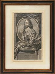 Sale 8319 - Lot 5 - Black and white engraving featuring Charles I with a crown of the realm
