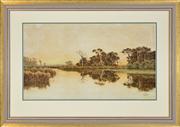 Sale 8374 - Lot 594 - Henri Tebbitt (1852 - 1926) - Wetland Landscape 44 x 77cm