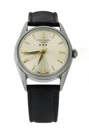 Sale 8406A - Lot 53 - Vintage Longines Silver Arrow wristwatch, circa 1957, stainless steel, hand winding, 34 mm, refinished dial, excellent condition, in...