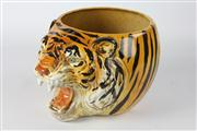 Sale 8445A - Lot 30 - Italian Ceramic Hand Painted Jardinere in Tiger Head Form - height - 20.5cm