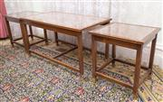 Sale 8653A - Lot 78 - A nest of three timber tables with glass top inserts, W of largest 76cm