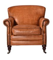 Sale 8651A - Lot 82 - A pair of deep set, extra comfy armchairs featuring premium caramel leather, with brass stud detailing and brushed oak legs, H 76 x ...