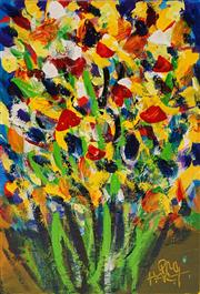 Sale 8656 - Lot 514 - Kevin Charles (Pro) Hart (1928 - 2006) - Floral 28 x 19cm