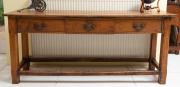 Sale 8677B - Lot 516 - An oak three drawer console table in mid Georgian style Height 80cm, Width 185cm, Depth 53cm