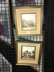 Sale 8702 - Lot 2062 - Diana Lane (2 works) Hunters Hill ; Inner City Homes, oils on board, each 20 x 19cm (frame) and signed lower -