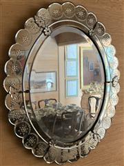 Sale 8510A - Lot 74 - A Venetian oval shaped floral mirror, H x 80cm, W x 65cm (some damages)