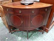 Sale 8939 - Lot 1034 - Large Georgian Style Inlaid Mahogany Corner Washstand, with short frieze & two faux drawers, above two circular panel doors, raised...