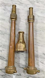 Sale 8951P - Lot 325 - Pair of Vintage Fire Nozzels and Brass tip (largest-39cm)