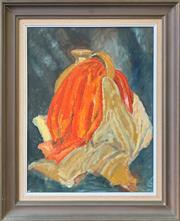 Sale 8961 - Lot 2071 - Ruth Gangemi Still Life: The Orange Scarf oil, 58 x 47cm (frame), signed