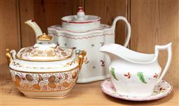Sale 9120H - Lot 45 - A collection of early English ceramics including a gilt decorated lidded sugar bowl, teapot creamer and saucer.
