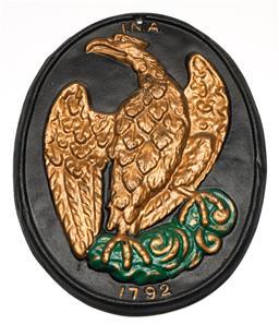 Sale 9246 - Lot 96 - A cast iron plaque depicting an Liver bird  (L:28cm)