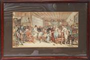 Sale 8319 - Lot 6 - Colour print featuring James I, Knighting the loin of beef at Hoghton Tower in Lancashire in 1619
