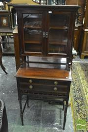 Sale 8335 - Lot 1007 - Small Victorian Aesthetic Rosewood Cabinet on Stand, by Collinson & Lock, London (stamped to drawer) with glass panel doors, mirror...