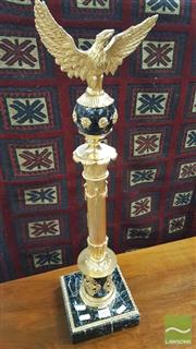 Sale 8402 - Lot 1002 - Empire Style Gilt Metal Column surrounded by an Eagle and Faux Marble Details