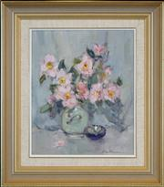 Sale 8411A - Lot 5095 - Allan Hansen (1911 - 2000) - Pink Sasanqua 29 x 24cm