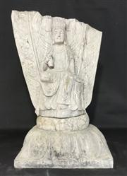 Sale 8706A - Lot 15 - An antique carved stone Buddha temple statue, aged break to top, slight chipping consists of 2 pieces (top sits into base) H 64 x W...