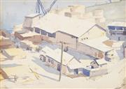 Sale 8791A - Lot 5080 - Sidney Woodward-Smith (1904-1972) - Wharf Scene, Vermont USA c1940 20 x 27cm