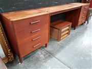 Sale 8822 - Lot 1128 - Vintage Teak Twin Pedestal Desk