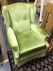 Sale 8851 - Lot 1077 - Velvet Wing Back Chair
